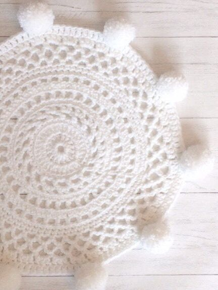 Excited To Share The Latest Addition My Etsy Pom Rug Nursery Playmat Circle White Decor Round Crochet