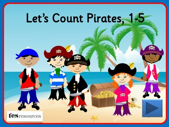 Interactive counting screens to count amounts between 1 and 5. Choose an image and count the pirates as they appear one-by-one on the screen. You can then click each object to see the digits as you count.