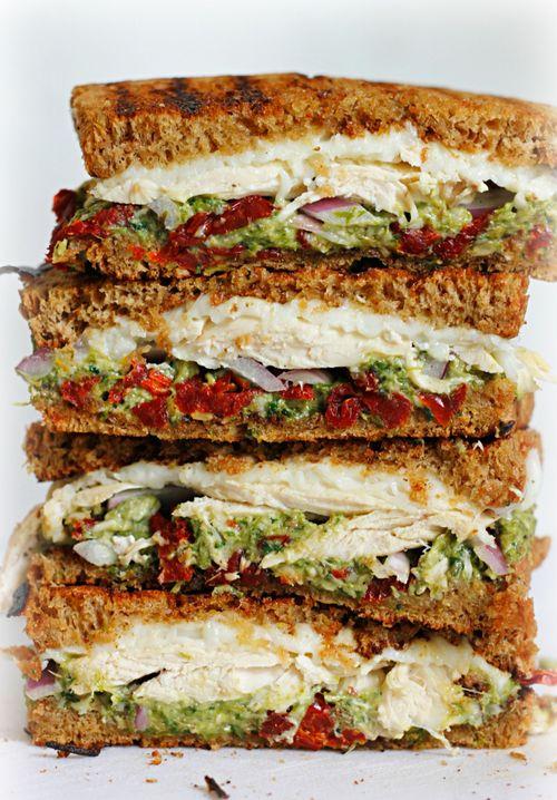 chocolatefoood:  Chicken, Sun-dried Tomato, & Asparagus Pesto Sandwich