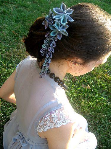 Hand dyed silk Kanzashi flower hair ornament.