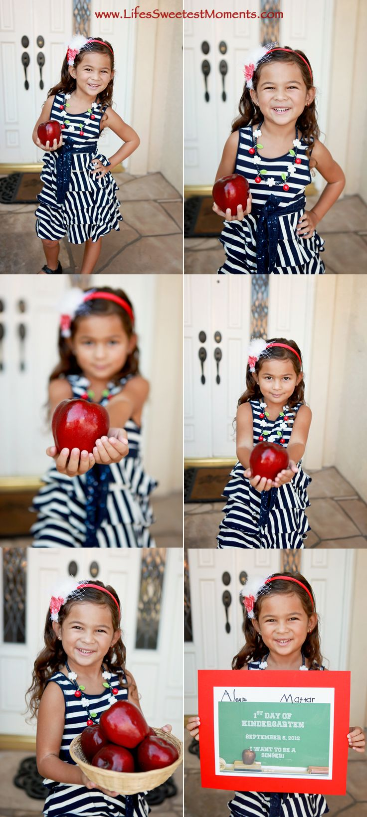 Great idea for 1st day of Kindergarten photos.  Apple themed 1st day of Kindergarten photo shoot.