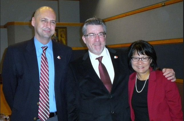 MPs Matt Kellway, Craig Scott and Olivia Chow at the Levee.
