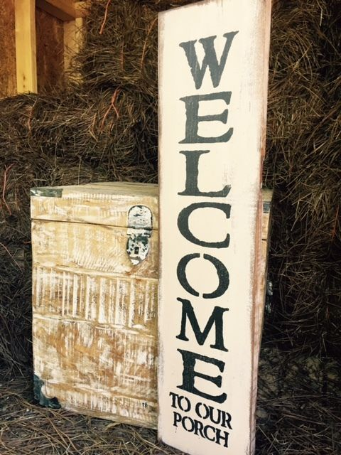 Details About Large Rustic Wood Sign Welcome To Our Porch