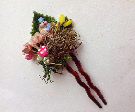 FairyTales hair pinBig Bad Wolf tiny porcelain on от Lunabarocca