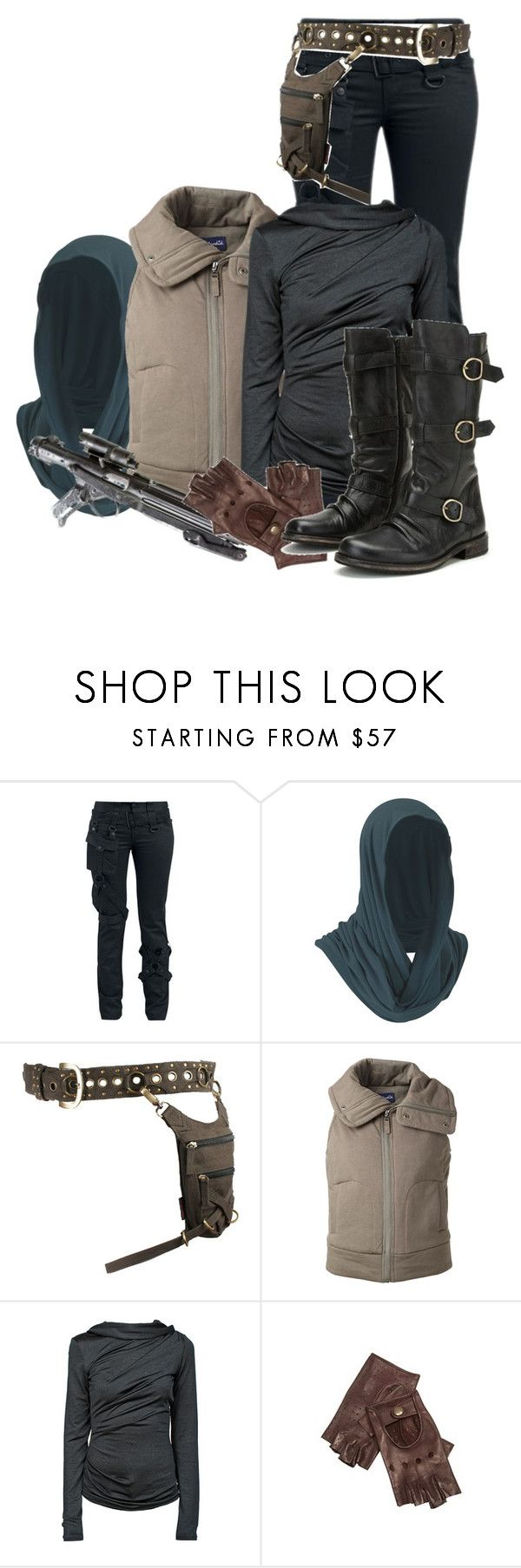 """""""Jyn Erso"""" by inspiredoutfitsfandoms ❤ liked on Polyvore featuring Splendid, T By Alexander Wang, Episode, Alexander McQueen and Bronx"""