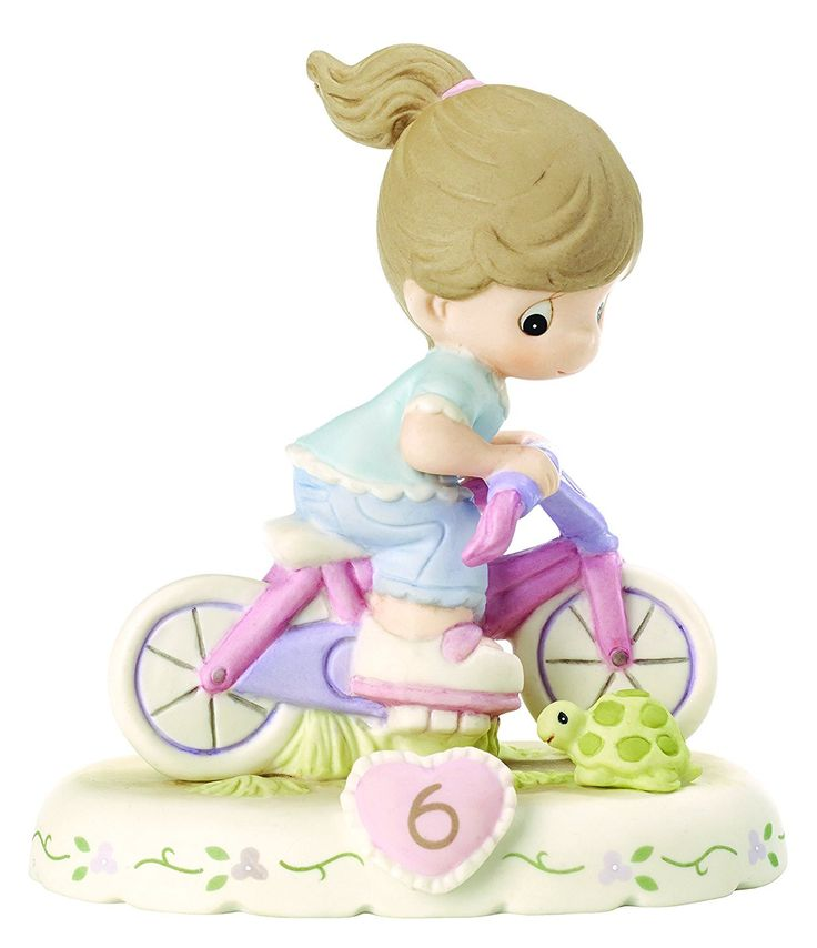 PRECIOUS MOMENTS - AGE 6 - GIRL ON BICYCLE