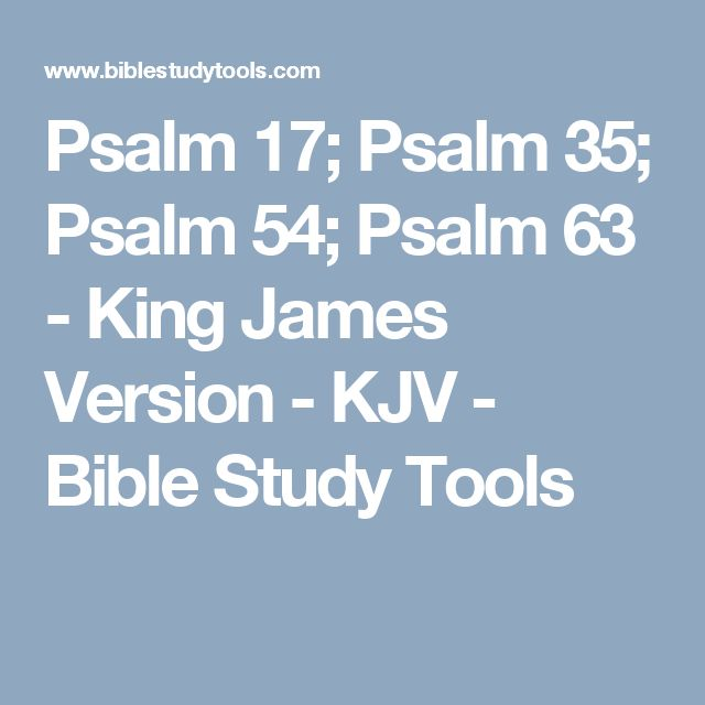 Psalm 17; Psalm 35; Psalm 54; Psalm 63 - King James Version - KJV - Bible Study Tools