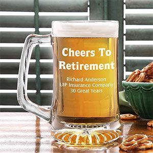 Cheers To Retirement 25 oz. Engraved Beer Mug | Retirement ...