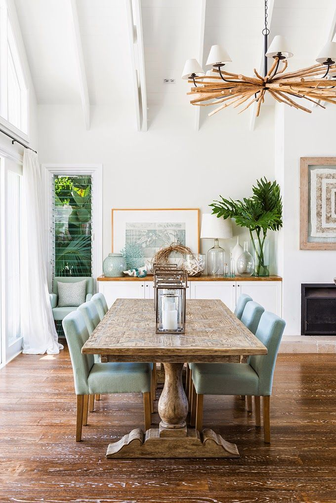 Beach Tropical Decor- I love the  relaxed and laid back but sophisticated feel of this dining room. This is a seaside retreat home!
