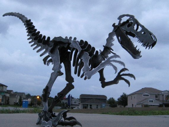 Steel Dinosaur Skeleton Velociraptor Metal Puzzle Kit Plasma Cut 25 foot
