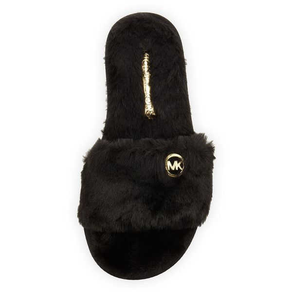 MICHAEL Michael Kors Jet Set Faux-Fur Slide ($48) ❤ liked on Polyvore featuring shoes, kohl shoes, flat heel shoes, black flat shoes, black flats and black open toe shoes