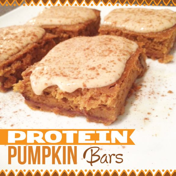 Jamie Eason Pumpkin Protein Bars, only 70 cals per square.With Greek yogurt & cinnamon frosting!