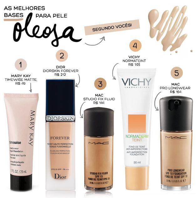 As melhores bases para pele oleosa | Dia de Beauté