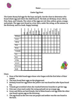 Here is an Easter themed matrix logic problem for students to solve by using their best critical thinking skills.