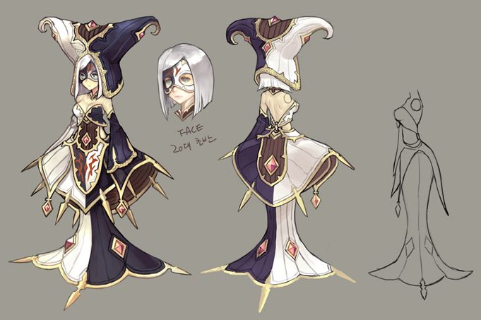 Dragon Nest. NPC Priestess of Darkness Éclair Character Design Reference Sheet. 드네 카툰 | NO.1 액션RPG 드래곤네스트