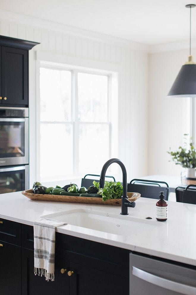 Matte Black kitchen Faucet with white sink and marble ...