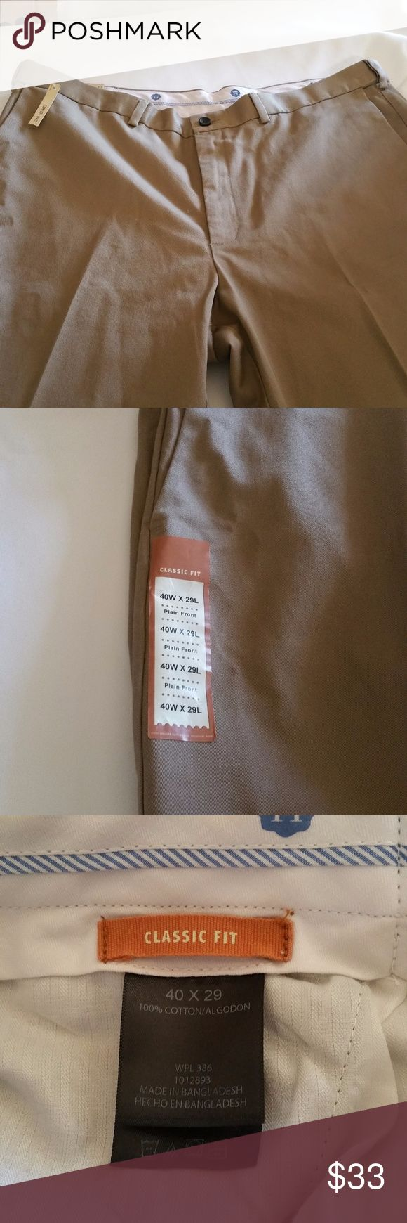 HAGGAR CLOTHING CO. men's STRAIGHT FIT 40WX29L For your consideration:   HAGGAR CLOTHING CO. men's STRAIGHT FIT WORK TO WEEKEND PANT  40W X 29L.   New with tag.  Flat front  Color is Khaki. Haggar Pants Chinos & Khakis