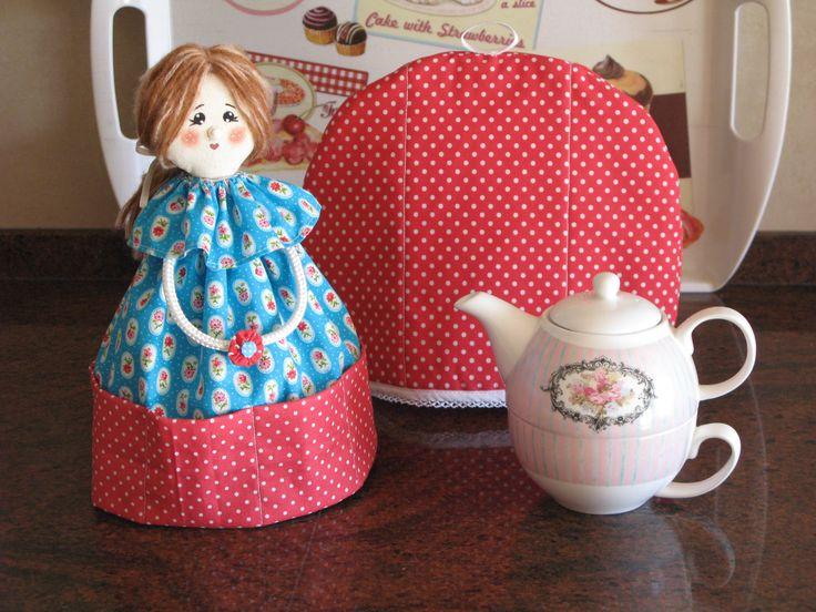Boneca porta chá e abafador de bule, blog Oficina das Prendinhas