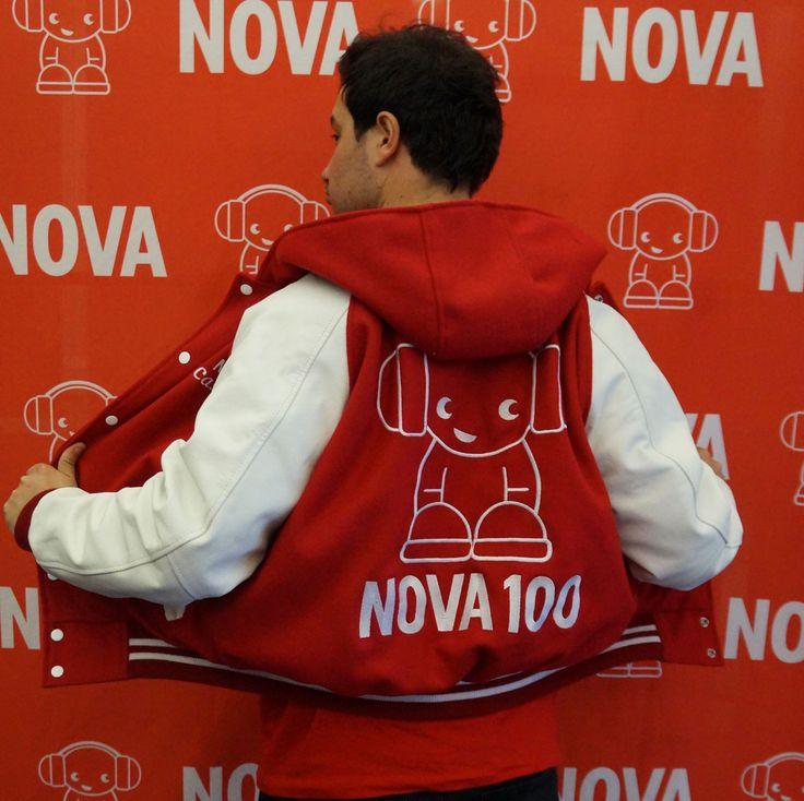 Nova FM crew in their custom wool and leather embroidered hoodie varsity jacket by Team Varsity Jackets. www.facebook.com/TeamVarsityJackets www.teamvarsityjackets.com.au