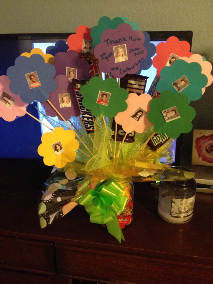 Teacher appreciation gift candy and home flowers with students picture