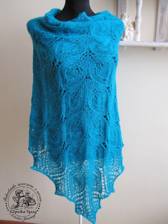 LACE SHAWL Leaves Hand Knit Shawl van AtelierJoanny op Etsy, €99.00