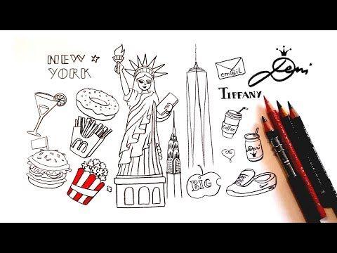 New York Doodles ⭐️NYC Freiheitsstatue zeichnen lernen How to draw ManhattanНю Йорк - YouTube