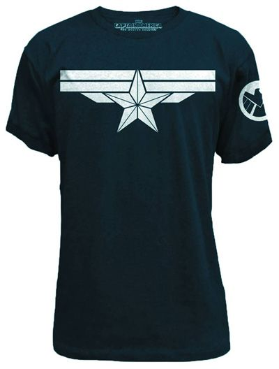 Image: Captain America: Winter Soldier - Shiny Star T-Shirt Navy  (XL)