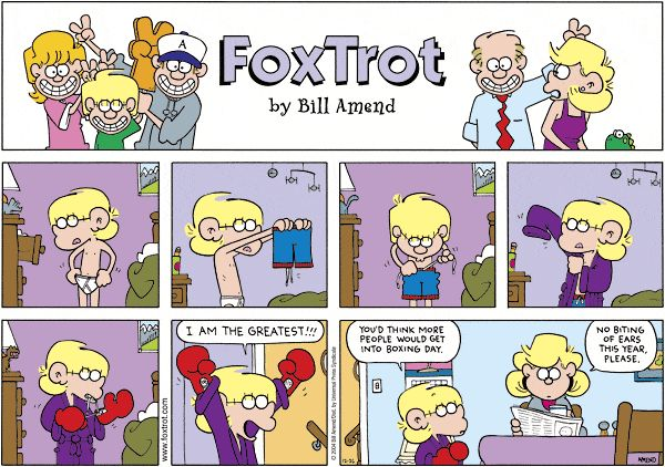 We've given our GoComics characters a pop quiz to see who can tell us the meaning of Boxing Day. It turns out, there's quite a bit of confusion about the holiday. ... Read more @ http://blogs.gocomics.com/2015/12/breaking-down-boxing-day.html?utm_source=pinterest&utm_medium=socialmarketing&utm_content=breakingdownboxingday-blog&utm_campaign=social | #GoComics #comics #webcomic #BoxingDay #funny