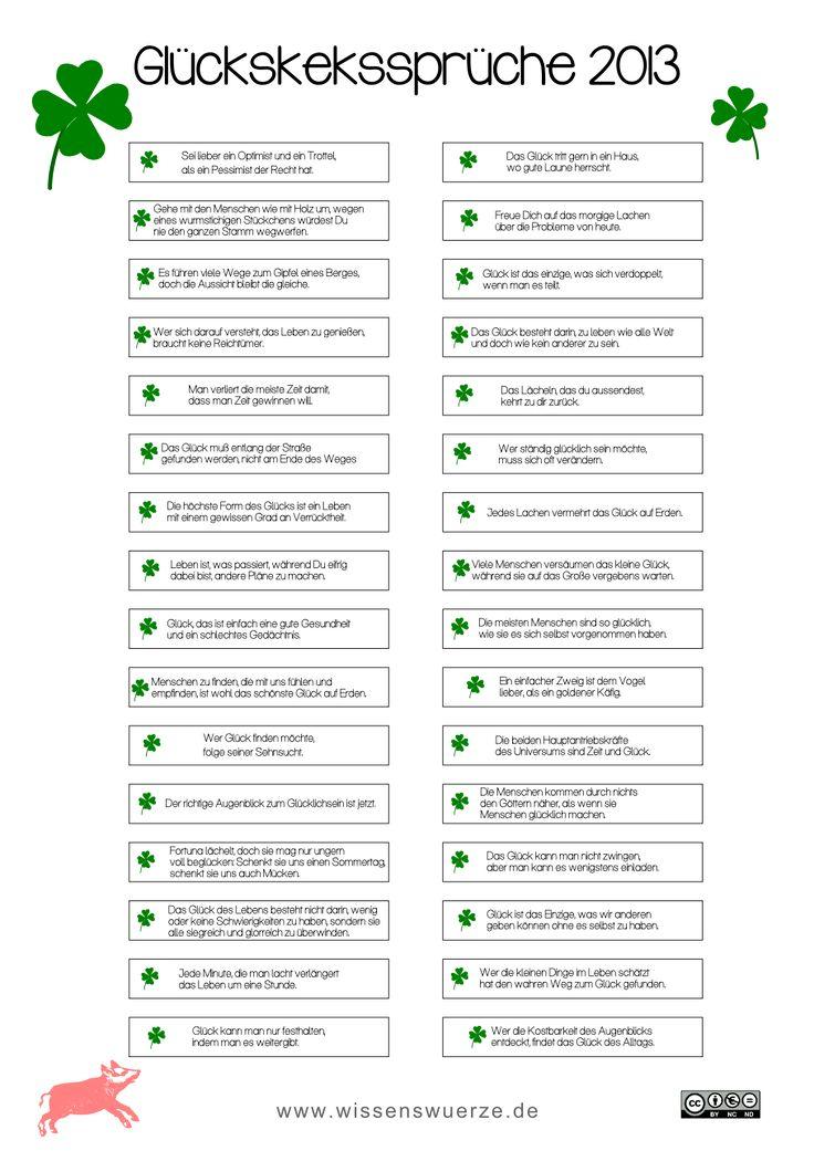 Glückskeks-Sprüchen von wissenswuerze.de free printable
