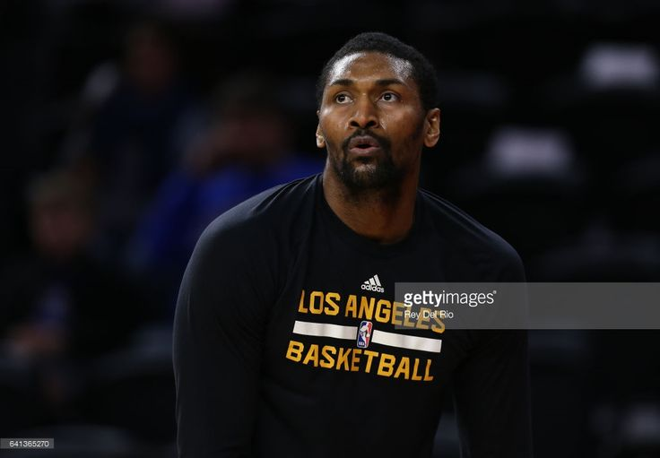 Metta World Peace #37 of the Los Angeles Lakers warms up prior to the game against the Detroit Pistons at the Palace of Auburn Hills on February 8, 2017 in Auburn Hills, Michigan.