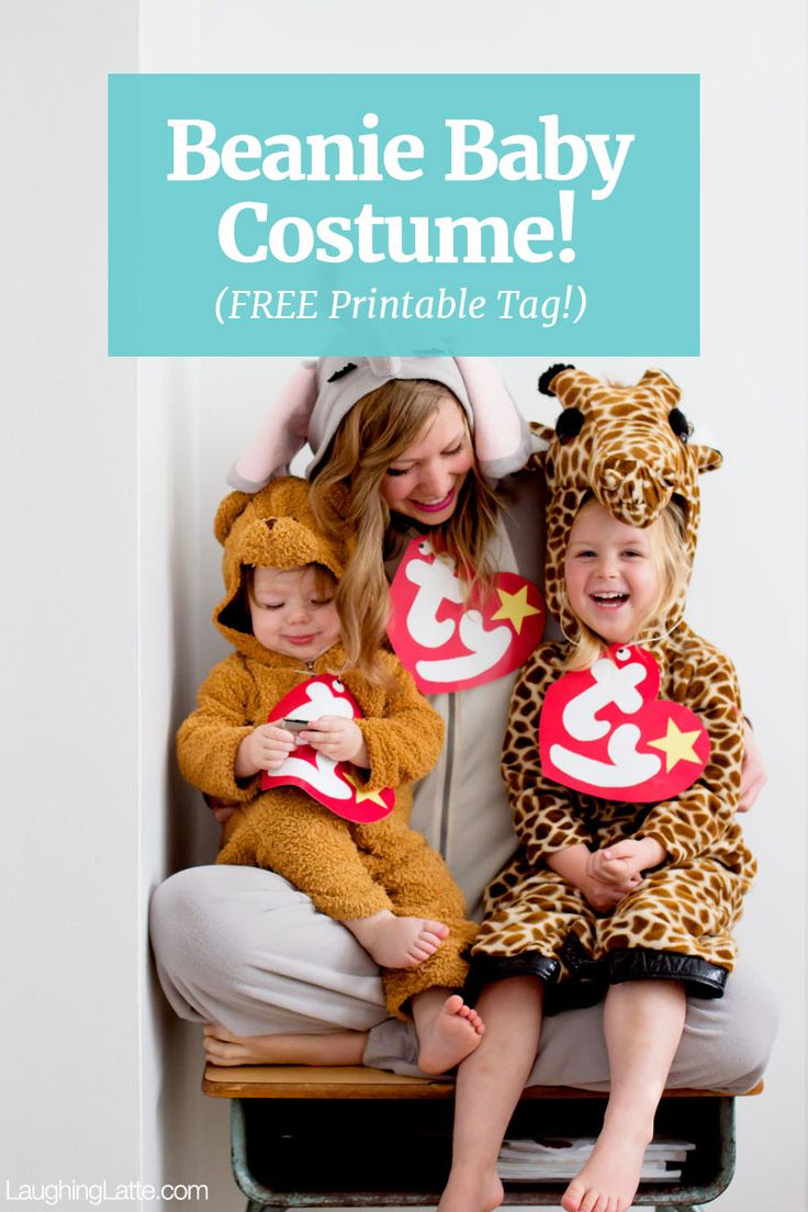 Beanie baby costume! (with a FREE printable beanie baby tag) Warm Halloween costume idea!