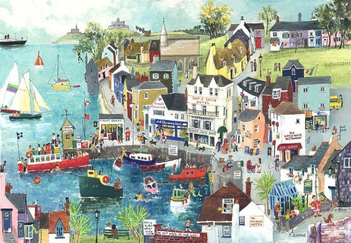 St Mawes on the Ferry (S4) - Prints - Serena - Cornwall Art Galleries