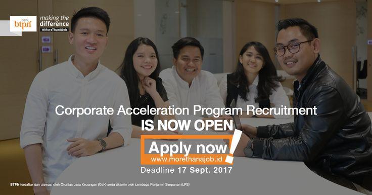 JOIN!  Corporate Accelarion Program (CAP) from Bank Tabungan Pensiunan Nasional (BTPN) for bachelor degree >> http://bit.ly/2tJqkRW   DEADLINE: 17 September 2017 #itbcc #karirITB #ITBcareer