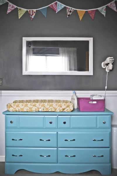 Aqua Changing Table/Dresser - #nurseryOld Dressers, Refurbished Furniture, Grey Nurseries, Change Tables, Gray Walls, Grey Wall, Baby Room, Blue Dressers, Bright Colors