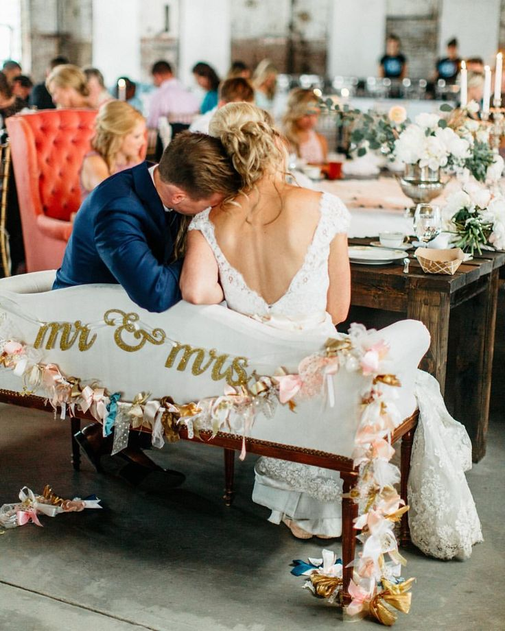 Love the idea of a little wedding bench for the happy couple to share!