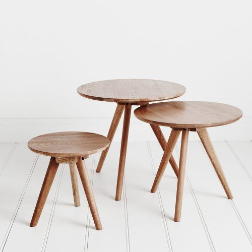 Beautiful solid oak has been crafted into a cluster of 3 tables perfect for a modern home. Inspired by northern Scandinavian design, the set of 3 look great together or separate individually around the home.