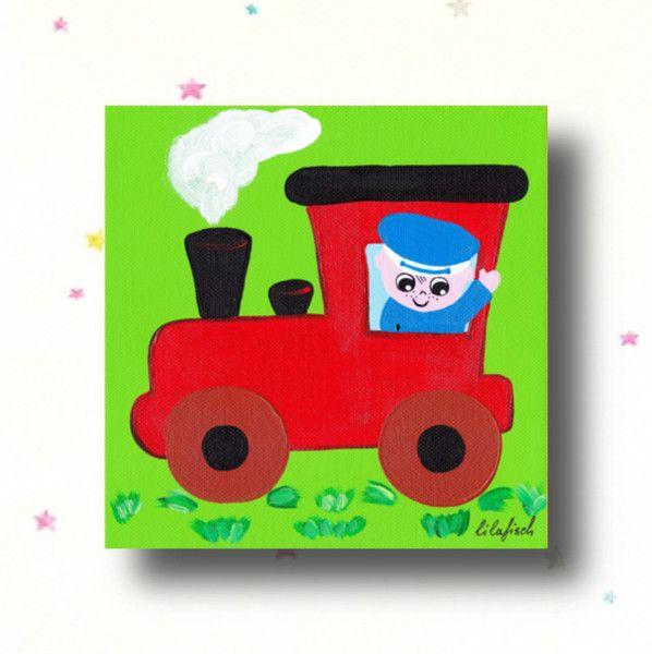 Bilder - Kinderzimmer Bild,Bild Babyzimmer, Bild Zug,Lok - ein Designerstück von LilaFisch bei DaWanda