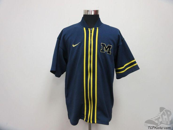 Vtg 90s Nike Michigan Wolverines Basketball Shooting Shirt Warm Up sz L SEWN #Nike #MichiganWolverines  #tcpkickz
