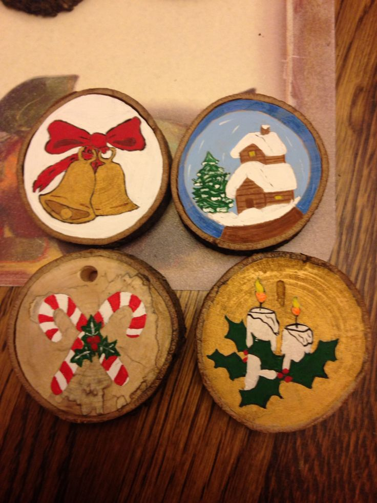 13 Best Hand Painted Wood Slice Ornaments Images On