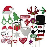 27 Tlg. Party Weihnachten Hochzeit Foto Verkleidung Schnurrbart Lippen Brille Krawatte Hueten Photo Booth Props Set Partymitbringsel