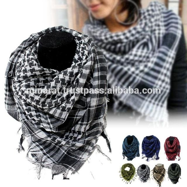 Arab Arafat Shemagh Keffiyeh Scarf Neck Wrap Military Keffiyeh Army New Black BE