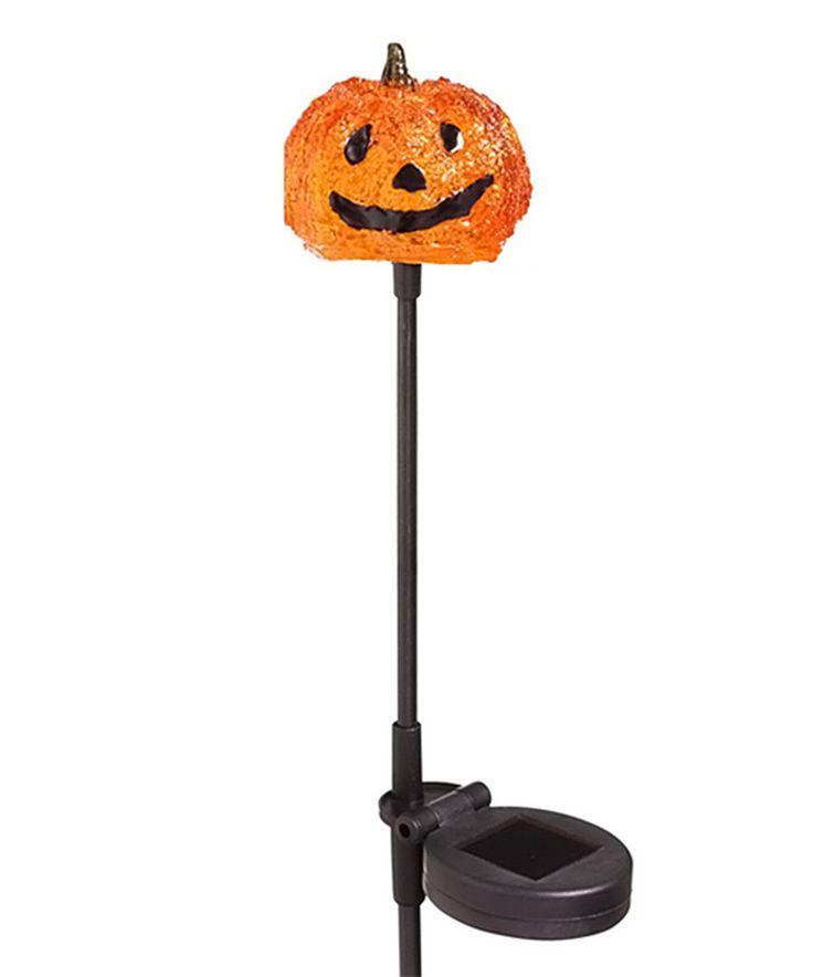 orange jack o lantern solar garden stake - Halloween Garden Stakes