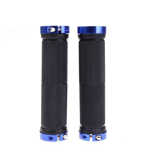 Pair Mountain Bike MTB BMX Bicycle Cycling Double Lock Handlebar Grips Blue