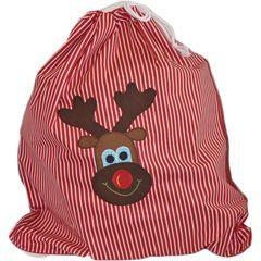 Christmas Sack - Reindeer Red Stripe - too cute!