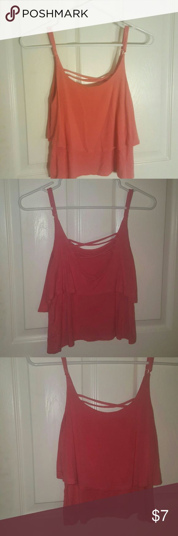 Layred Pink Tank Top Coral Adjustable Spaghetti Strap Tank Tops Tank Tops