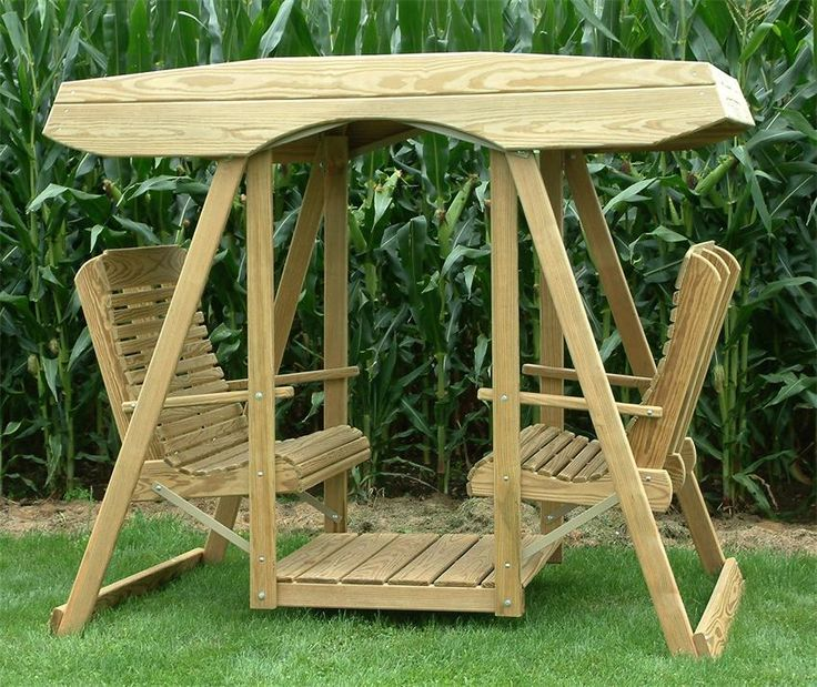 OMG these are so cool! Someone I knew as a child had one of these. Group swinging!    Amish Pine Wood Contour Highback Double Lawn Swing with Roof