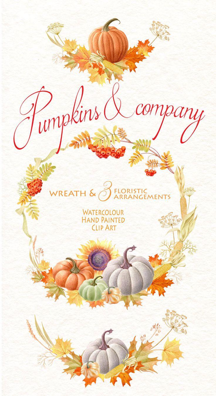 Watercolor clipart Pumpkins & company от WatercolorSeasons