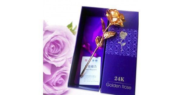 Hermoso regalo de San Valentín Artesanía Decorativa de Rosa sumergida en oro Gold Foil