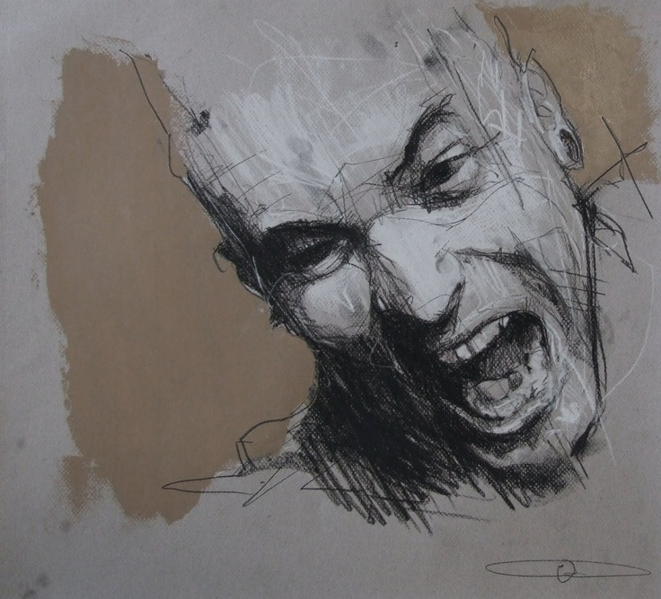 Guy Dennig / 'Battle of the beanfield'  pencil, chalk and oil on paper  45 x 50 cm