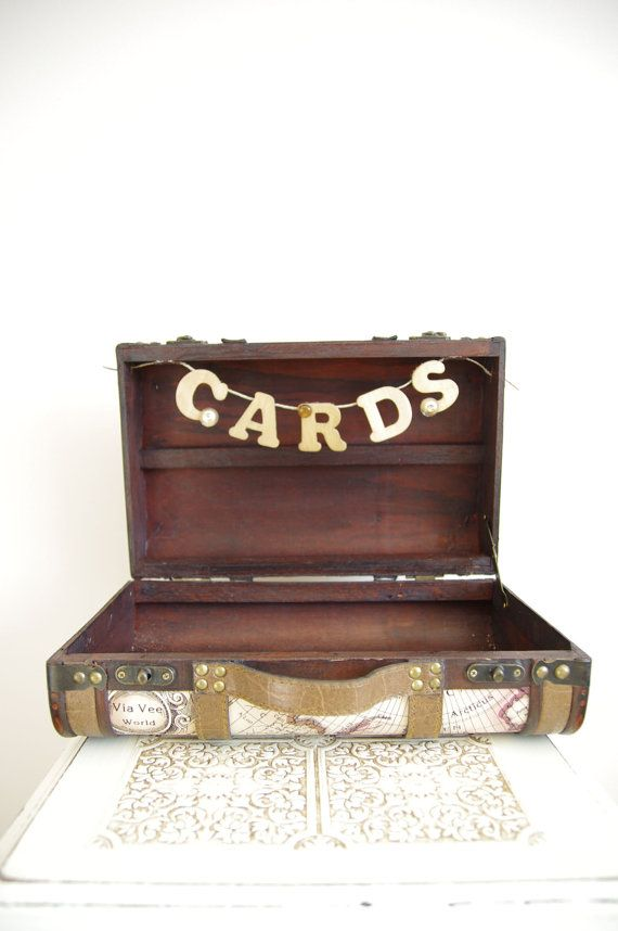 Wedding Card Box - Suitcase - Travel themed, vintage style - totally having this